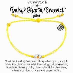Pura Vida Daisy Charm Bracelet Yellow
